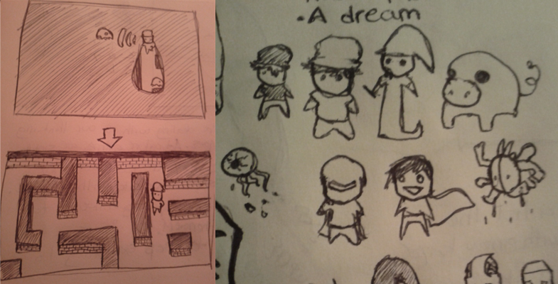 Preliminary character and level design sketches